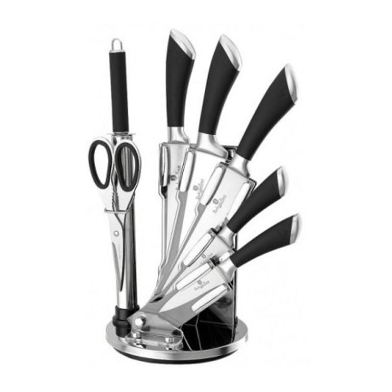 Sada nožů ve stojanu 8 ks nerez / černá BERLINGERHAUS BH-2042
