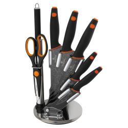 Sada nožů ve stojanu 8 ks granit černo-oranžová