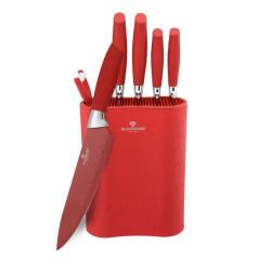 Sada nožů s nepřilnavým povrchem v bloku 7 ks červená