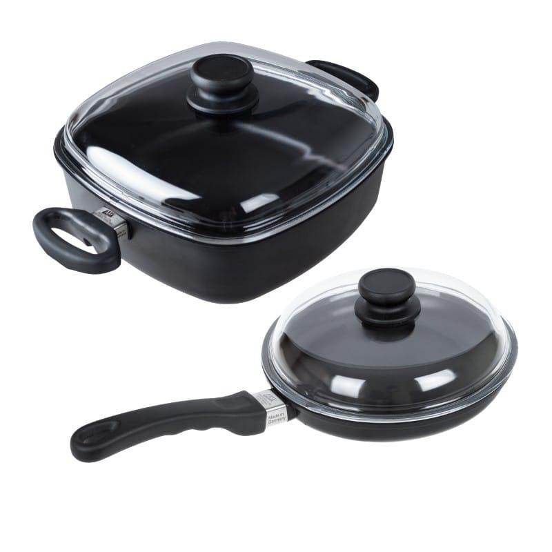 Sada 2 ks indukčního titanového nádobí I243 + I268 AMT Gastroguss, Německo I243+I268 Kvalitní indukční sada 2ks titanového nádobí obsahuje titanovou pánev I243 a titanový pekáč I268. Sada nádobí je za zvýhodněnou cenu oproti nákupu samostatných kusů.